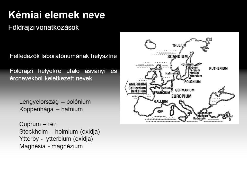 Kémiai elemek neve Földrajzi vonatkozások