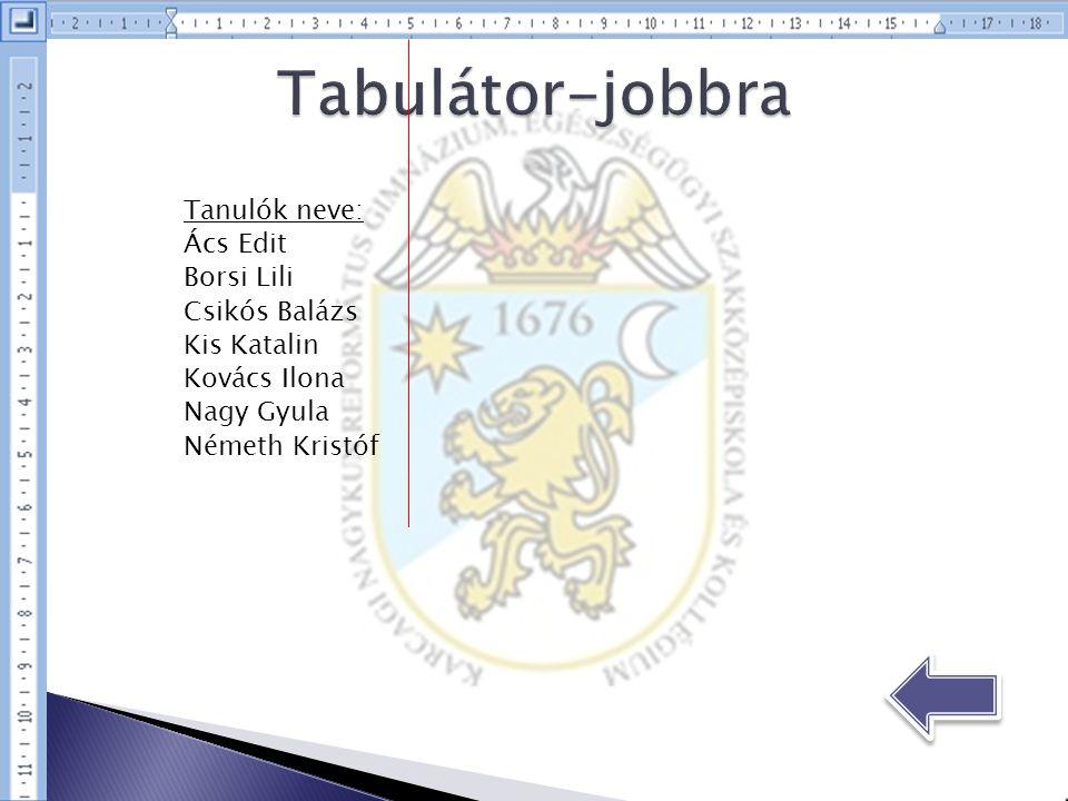 Tabulátor-jobbra Tanulók neve: Ács Edit Borsi Lili Csikós Balázs
