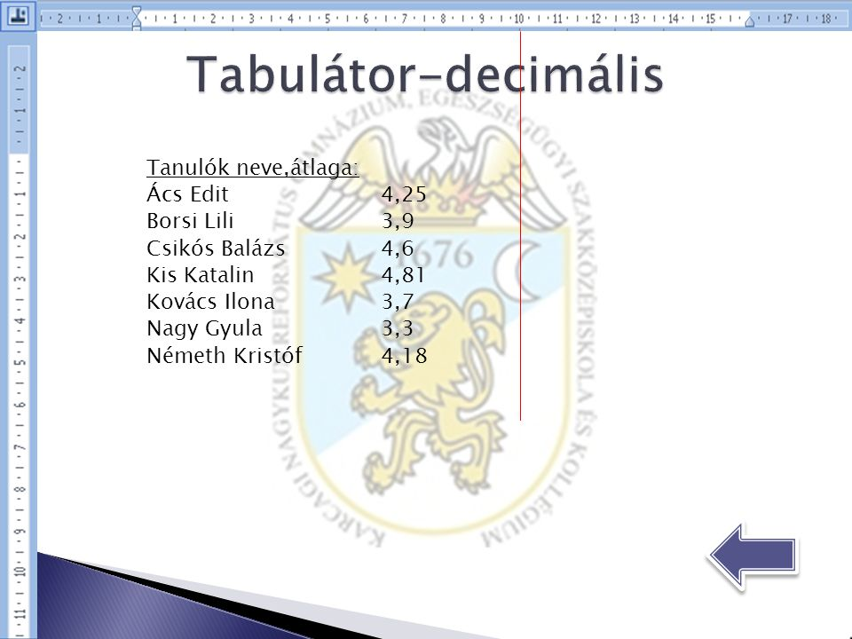 Tabulátor-decimális Tanulók neve,átlaga: Ács Edit 4,25 Borsi Lili 3,9