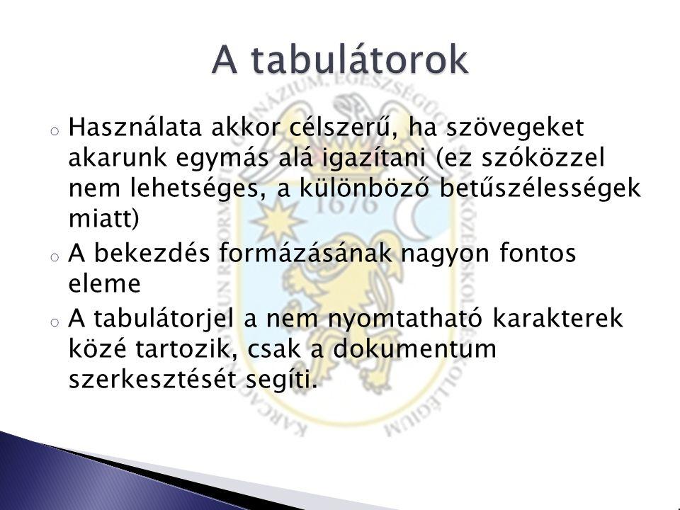 A tabulátorok