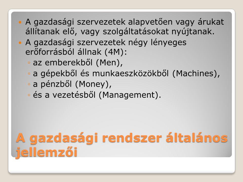 A gazdasági rendszer általános jellemzői