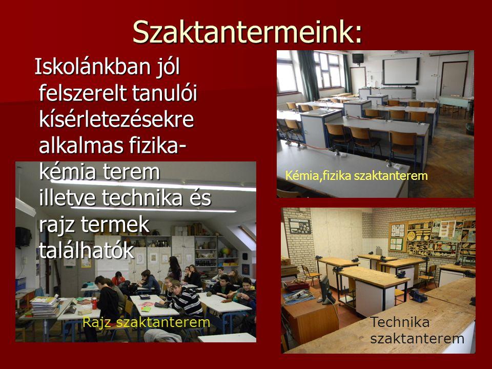 Szaktantermeink: Iskolánkban jól felszerelt tanulói kísérletezésekre alkalmas fizika-kémia terem illetve technika és rajz termek találhatók.