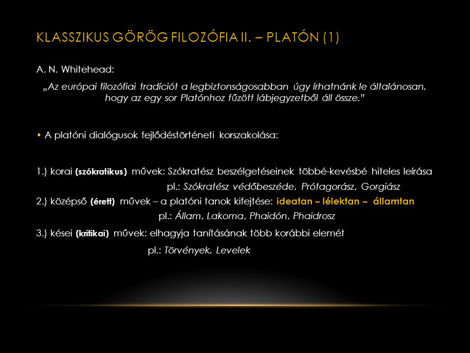 Klasszikus görög filozófia II. – Platón (1)