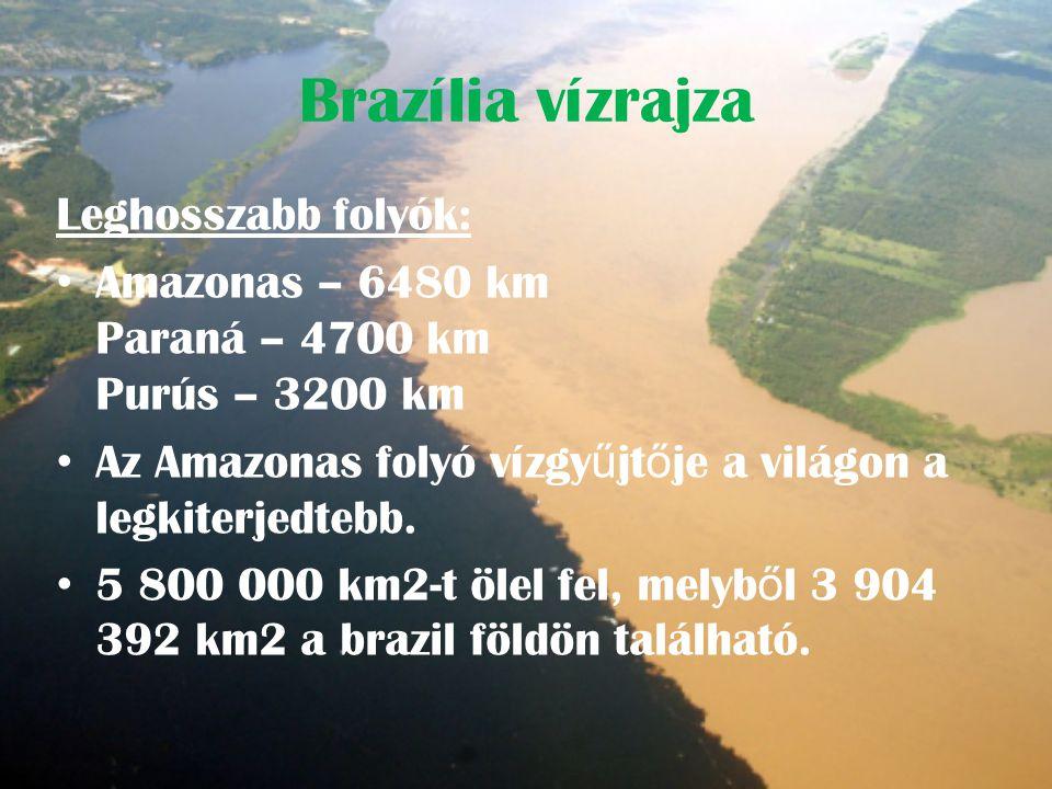 Brazília vízrajza Leghosszabb folyók: