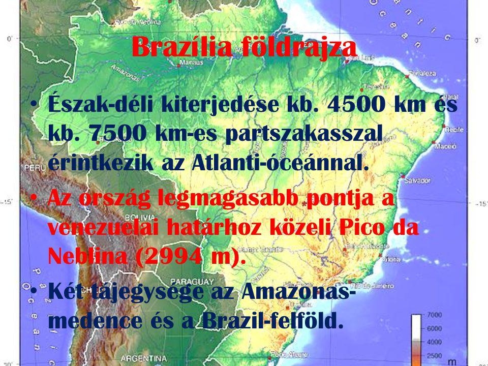 Brazília földrajza Észak-déli kiterjedése kb. 4500 km és kb. 7500 km-es partszakasszal érintkezik az Atlanti-óceánnal.
