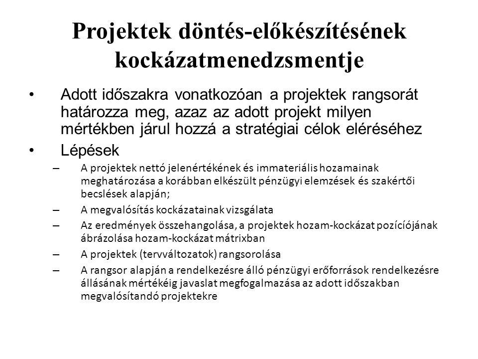 Projektek döntés-előkészítésének kockázatmenedzsmentje