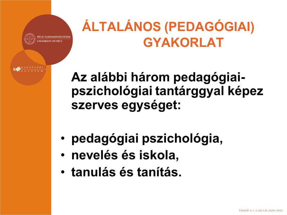 ÁLTALÁNOS (PEDAGÓGIAI) GYAKORLAT