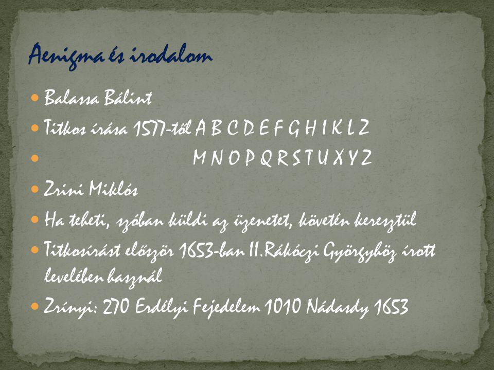 Aenigma és irodalom Balassa Bálint