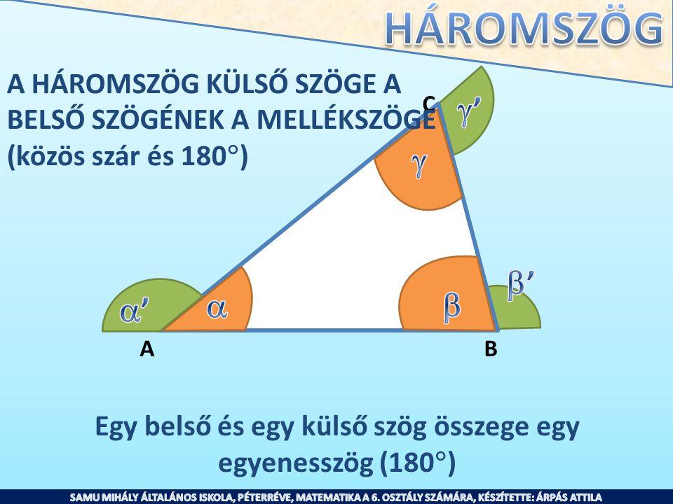 Egy belső és egy külső szög összege egy egyenesszög (180)