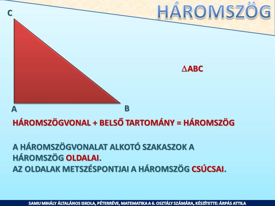 C ABC. A. B. HÁROMSZÖGVONAL + BELSŐ TARTOMÁNY = HÁROMSZÖG. A HÁROMSZÖGVONALAT ALKOTÓ SZAKASZOK A.