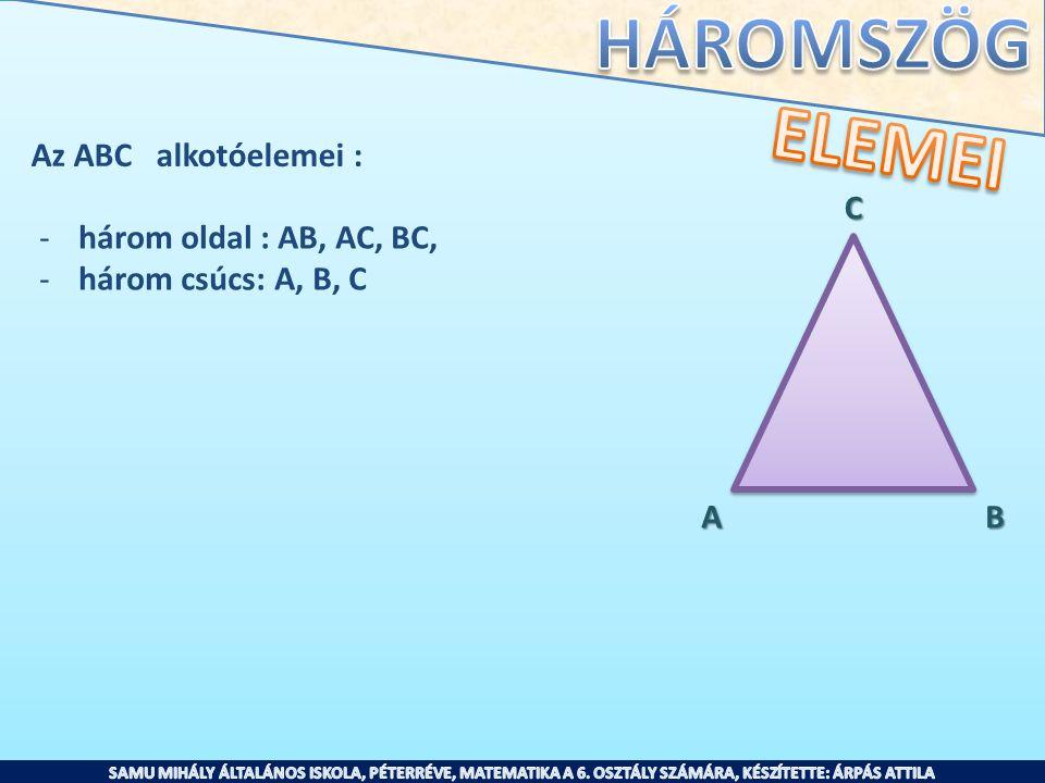ELEMEI Az ABC alkotóelemei : C három oldal : AB, AC, BC,