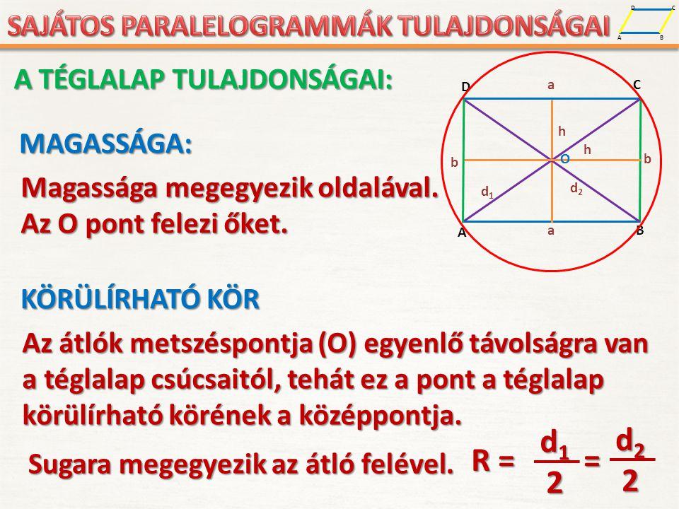 d1 d2 R = = 2 A TÉGLALAP TULAJDONSÁGAI: MAGASSÁGA: