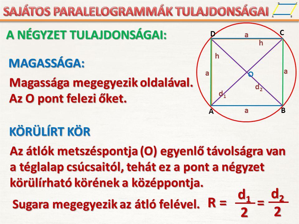 d1 d2 R = = 2 A NÉGYZET TULAJDONSÁGAI: MAGASSÁGA: