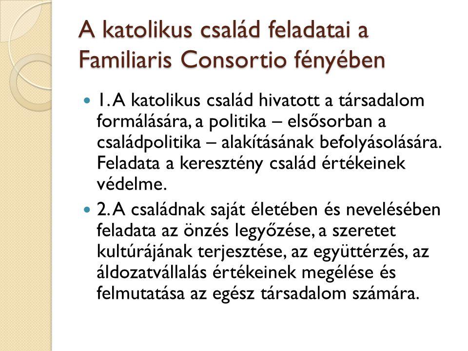 A katolikus család feladatai a Familiaris Consortio fényében