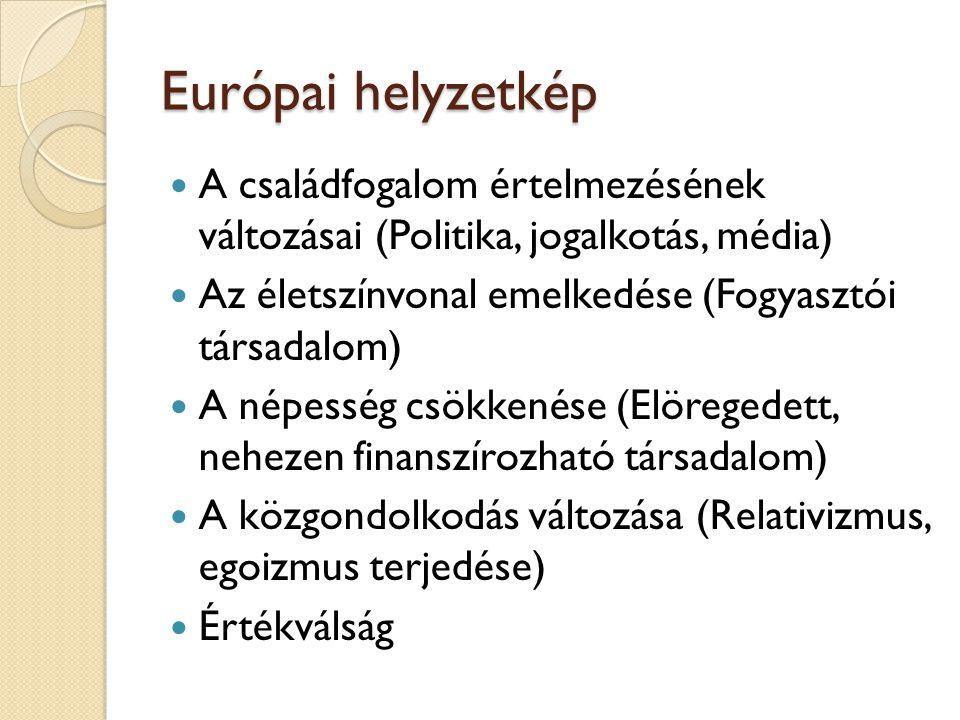 Európai helyzetkép A családfogalom értelmezésének változásai (Politika, jogalkotás, média) Az életszínvonal emelkedése (Fogyasztói társadalom)