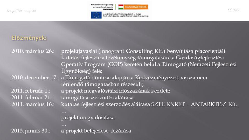 2011. február 1.: a projekt megvalósítási időszakának kezdete