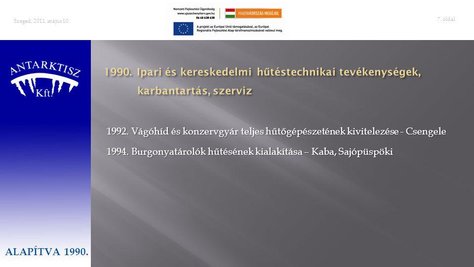Szeged, 2011. május 10. ALAPÍTVA 1990. 1990. Ipari és kereskedelmi hűtéstechnikai tevékenységek, karbantartás, szerviz.