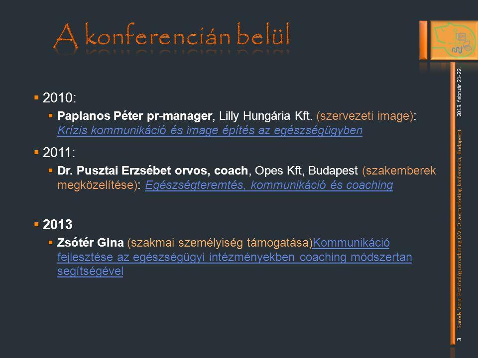 A konferencián belül 2010: 2011: 2013