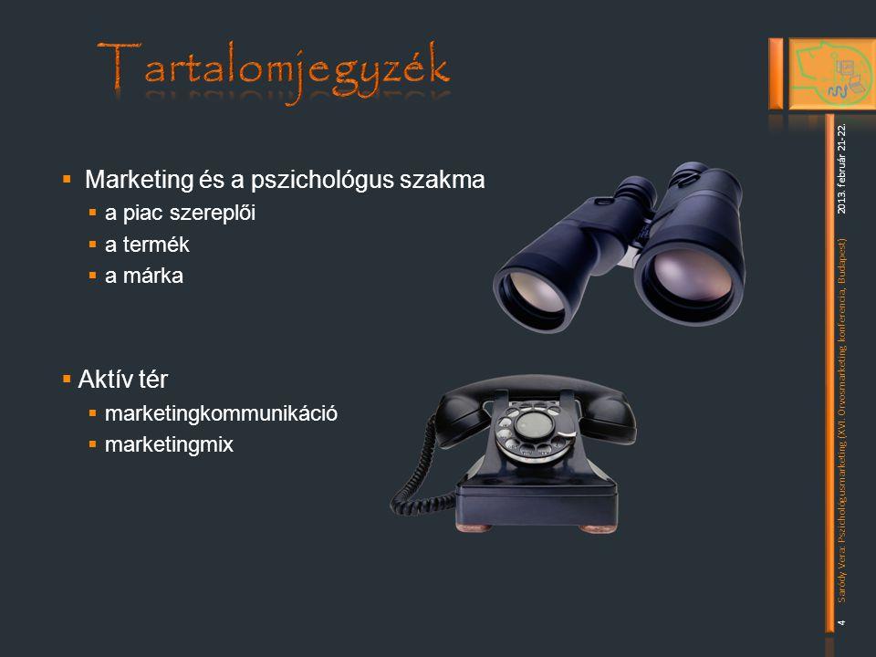 Tartalomjegyzék Marketing és a pszichológus szakma Aktív tér