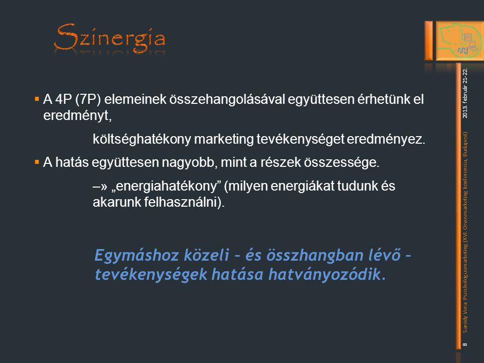 Szinergia A 4P (7P) elemeinek összehangolásával együttesen érhetünk el eredményt, költséghatékony marketing tevékenységet eredményez.