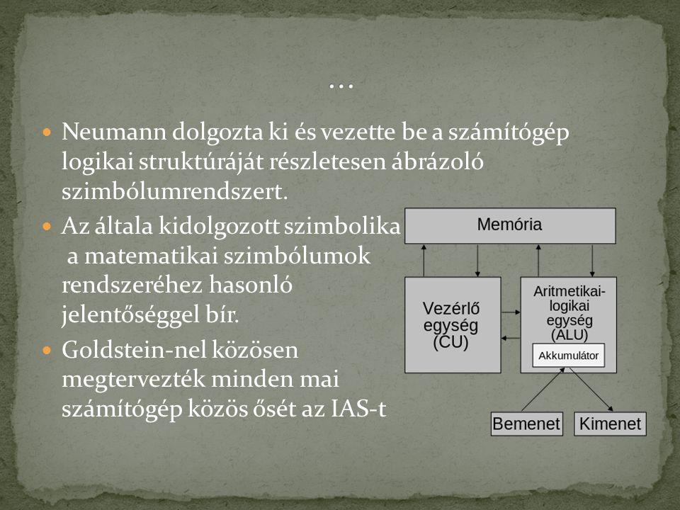 … Neumann dolgozta ki és vezette be a számítógép logikai struktúráját részletesen ábrázoló szimbólumrendszert.