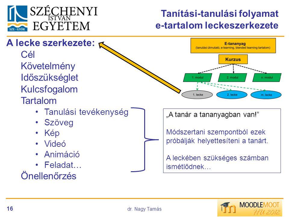 Tanítási-tanulási folyamat e-tartalom leckeszerkezete