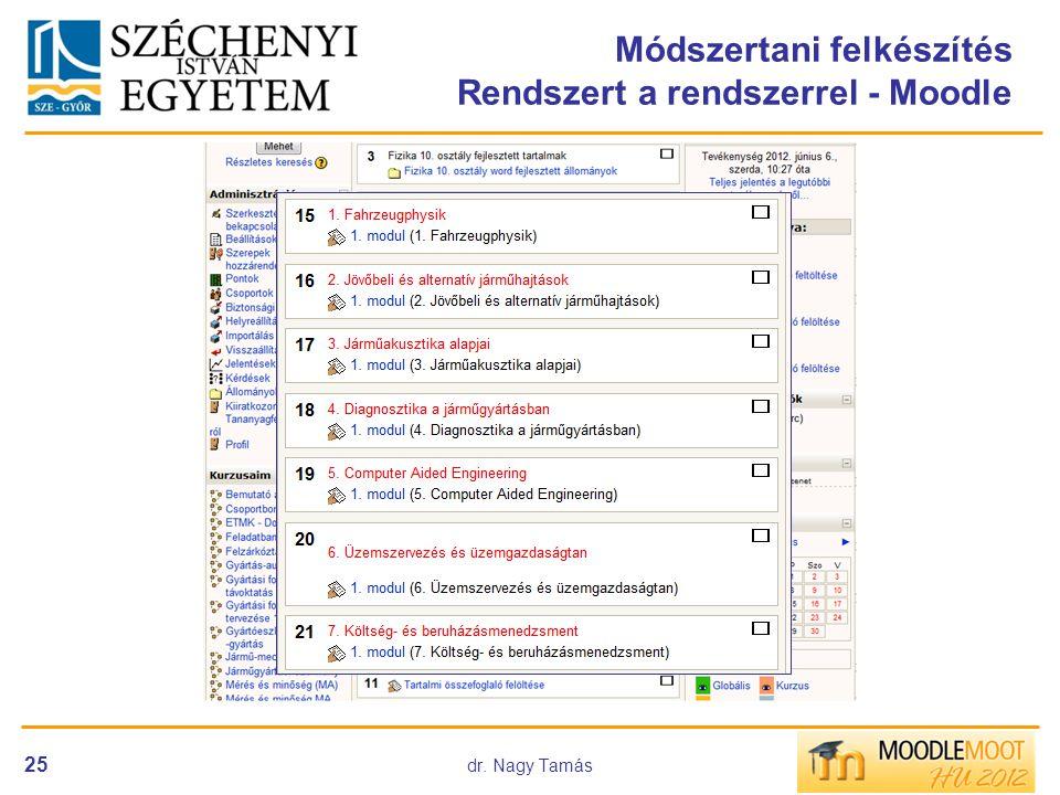 Módszertani felkészítés Rendszert a rendszerrel - Moodle