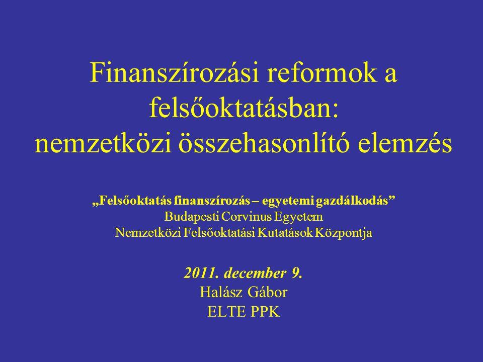 """Finanszírozási reformok a felsőoktatásban: nemzetközi összehasonlító elemzés """"Felsőoktatás finanszírozás – egyetemi gazdálkodás Budapesti Corvinus Egyetem Nemzetközi Felsőoktatási Kutatások Központja 2011."""