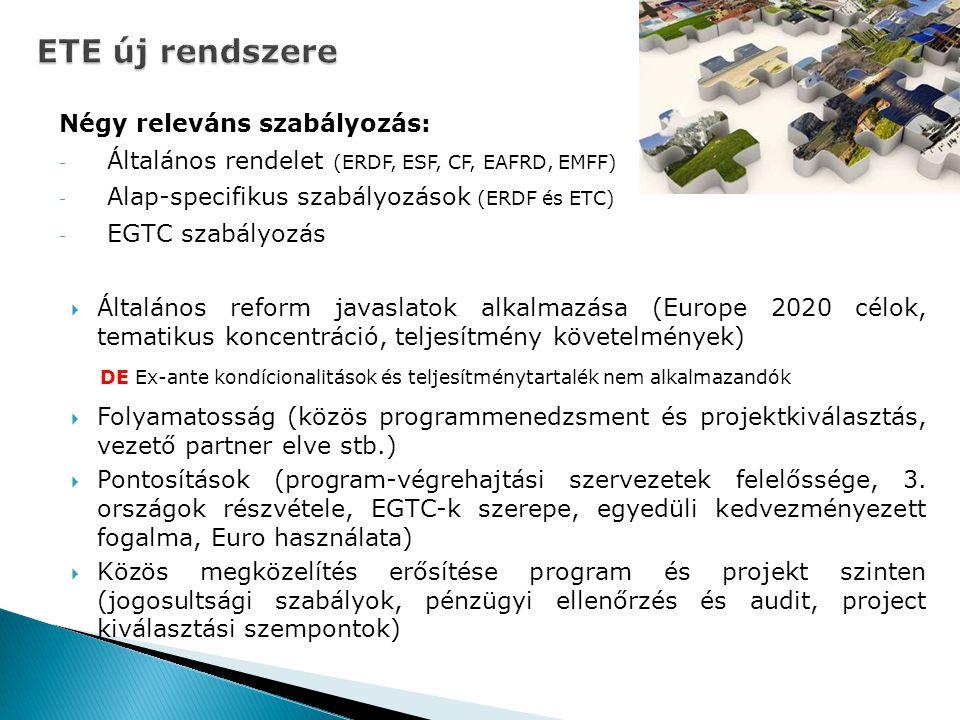ETE új rendszere Négy releváns szabályozás: