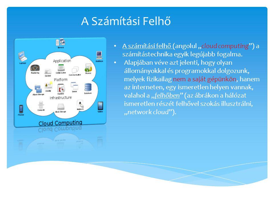 """A Számítási Felhő A számítási felhő (angolul """"cloud computing ) a számítástechnika egyik legújabb fogalma."""