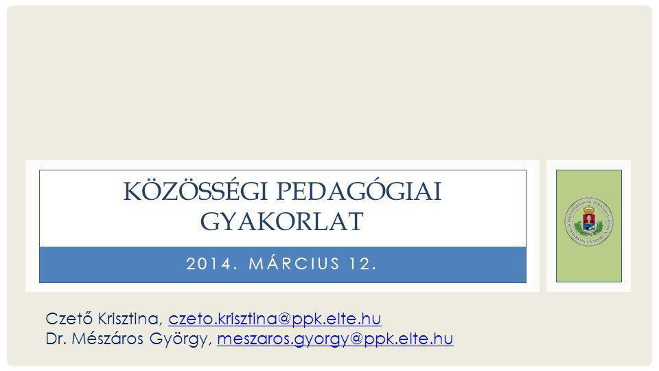 Közösségi pedagógiai gyakorlat