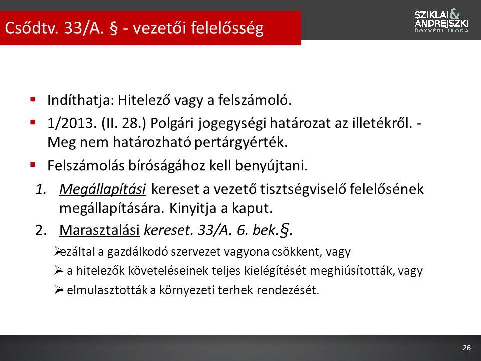 Csődtv. 33/A. § - vezetői felelősség