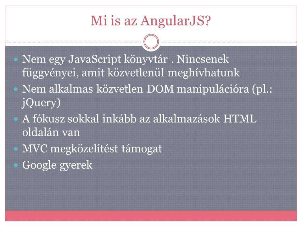 Mi is az AngularJS Nem egy JavaScript könyvtár . Nincsenek függvényei, amit közvetlenül meghívhatunk.