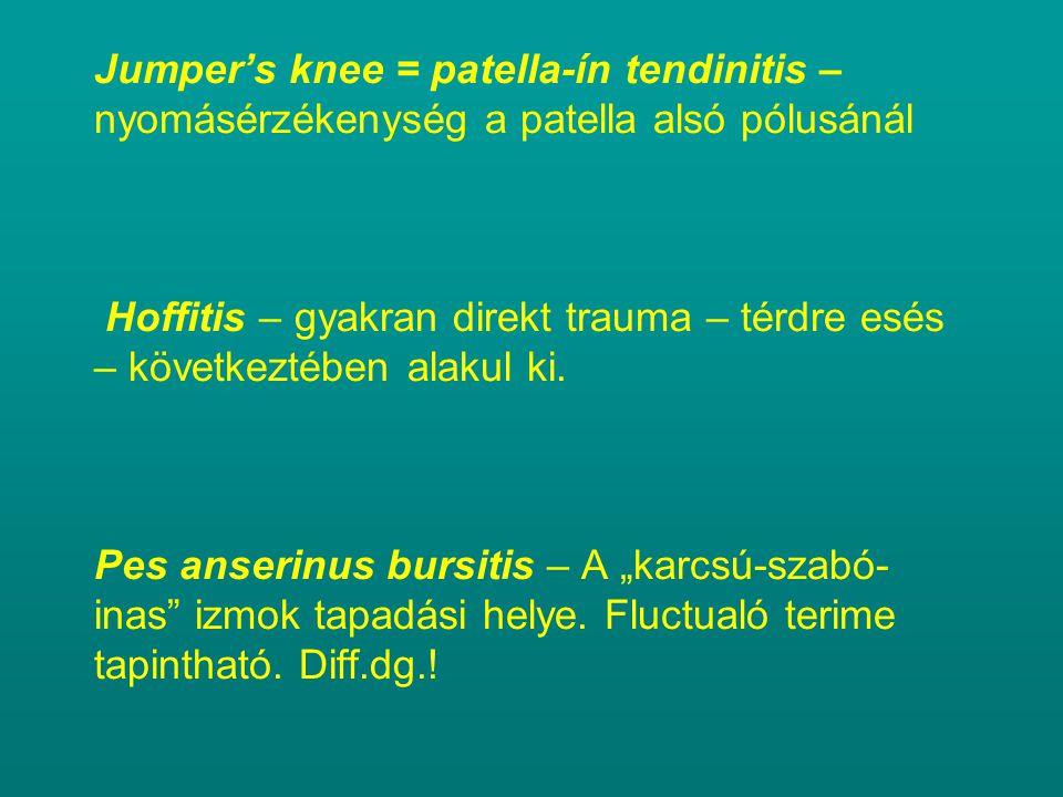 Jumper's knee = patella-ín tendinitis – nyomásérzékenység a patella alsó pólusánál Hoffitis – gyakran direkt trauma – térdre esés – következtében alakul ki.