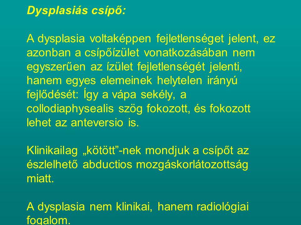 Dysplasiás csípő: A dysplasia voltaképpen fejletlenséget jelent, ez azonban a csípőízület vonatkozásában nem egyszerűen az ízület fejletlenségét jelenti, hanem egyes elemeinek helytelen irányú fejlődését: Így a vápa sekély, a collodiaphysealis szög fokozott, és fokozott lehet az anteversio is.