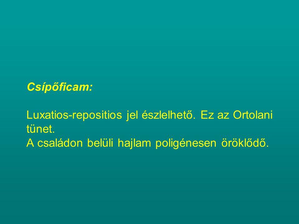 Csípőficam: Luxatios-repositios jel észlelhető. Ez az Ortolani tünet