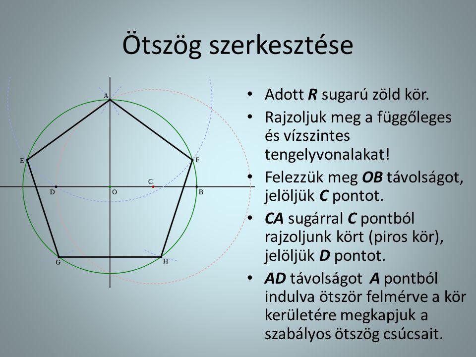 Ötszög szerkesztése Adott R sugarú zöld kör.