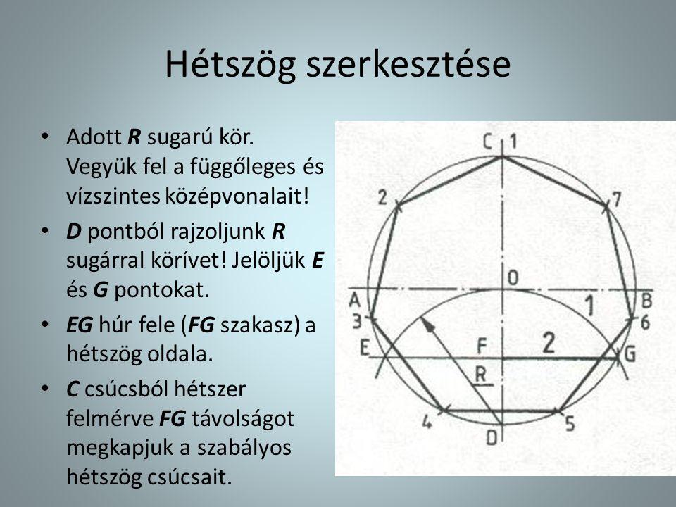 Hétszög szerkesztése Adott R sugarú kör. Vegyük fel a függőleges és vízszintes középvonalait!