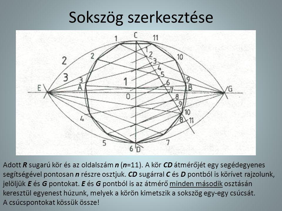 Sokszög szerkesztése Adott R sugarú kör és az oldalszám n (n=11). A kör CD átmérőjét egy segédegyenes segítségével pontosan n részre osztjuk.