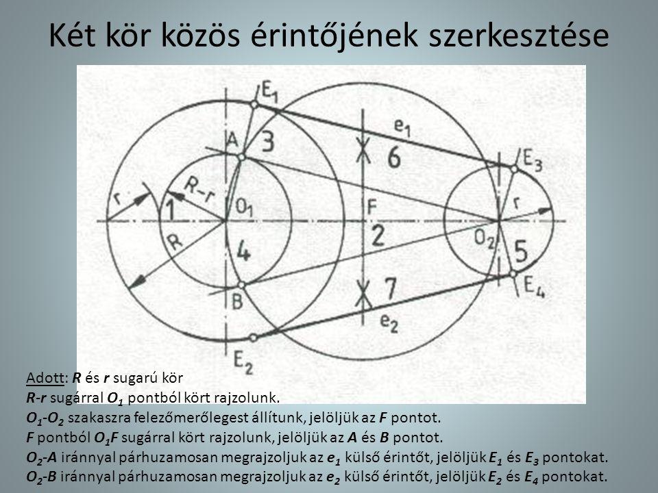 Két kör közös érintőjének szerkesztése