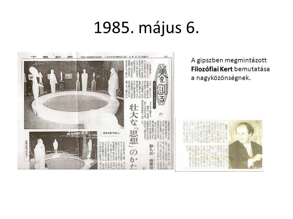 1985. május 6. A gipszben megmintázott Filozófiai Kert bemutatása a nagyközönségnek.