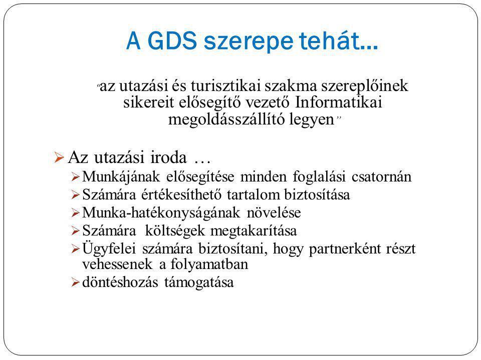 A GDS szerepe tehát… Az utazási iroda …