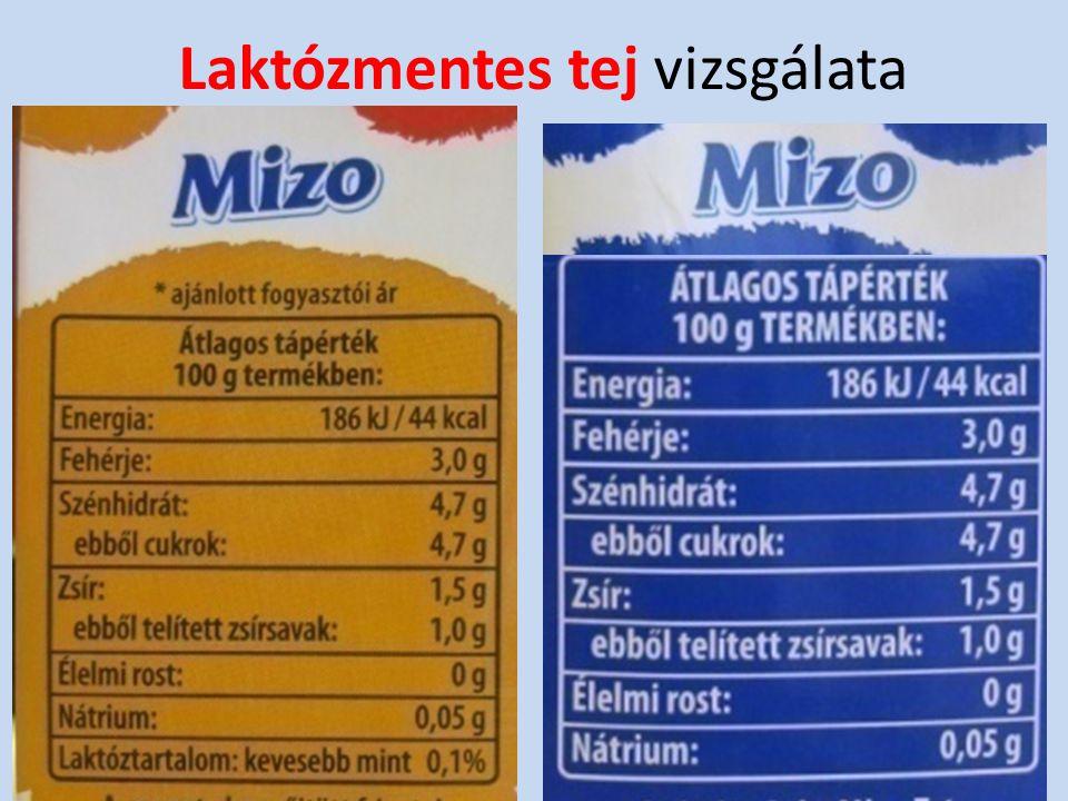 Laktózmentes tej vizsgálata