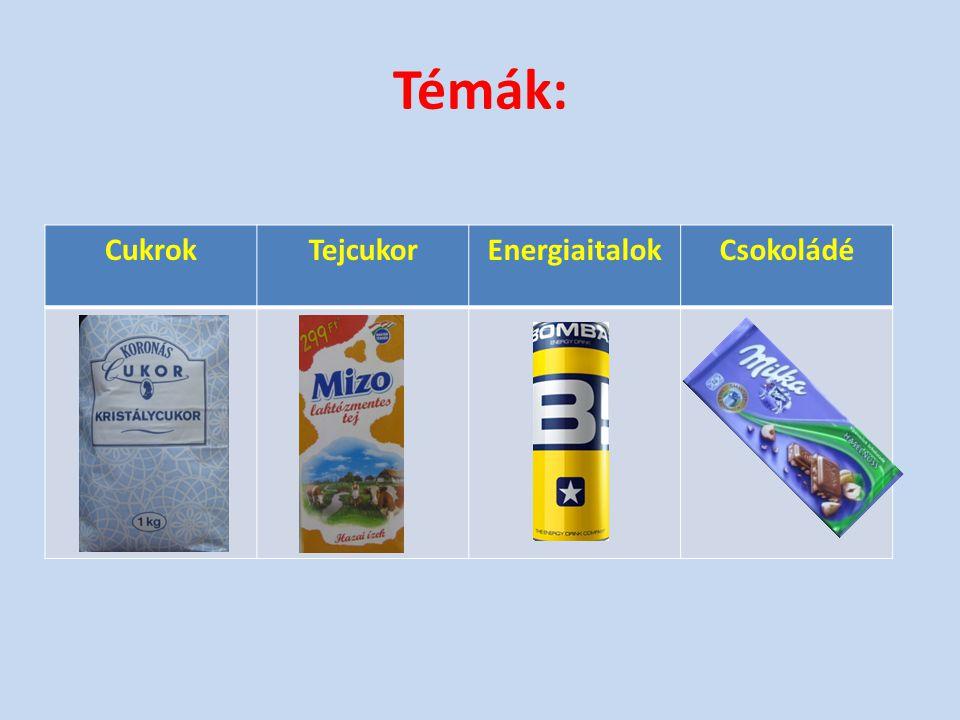 Témák: Cukrok Tejcukor Energiaitalok Csokoládé