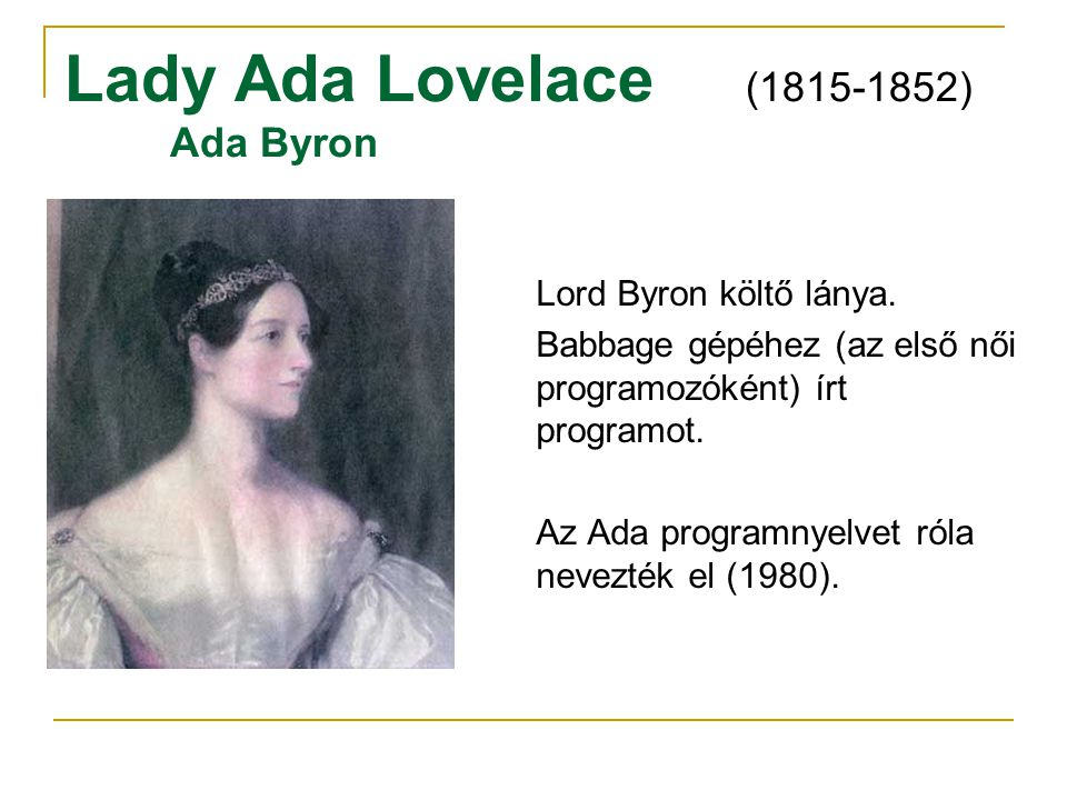 Lady Ada Lovelace (1815-1852) Ada Byron