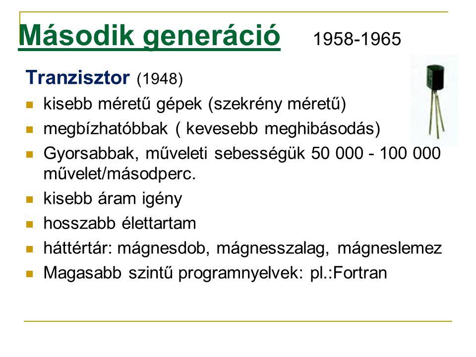 Második generáció 1958-1965 Tranzisztor (1948)