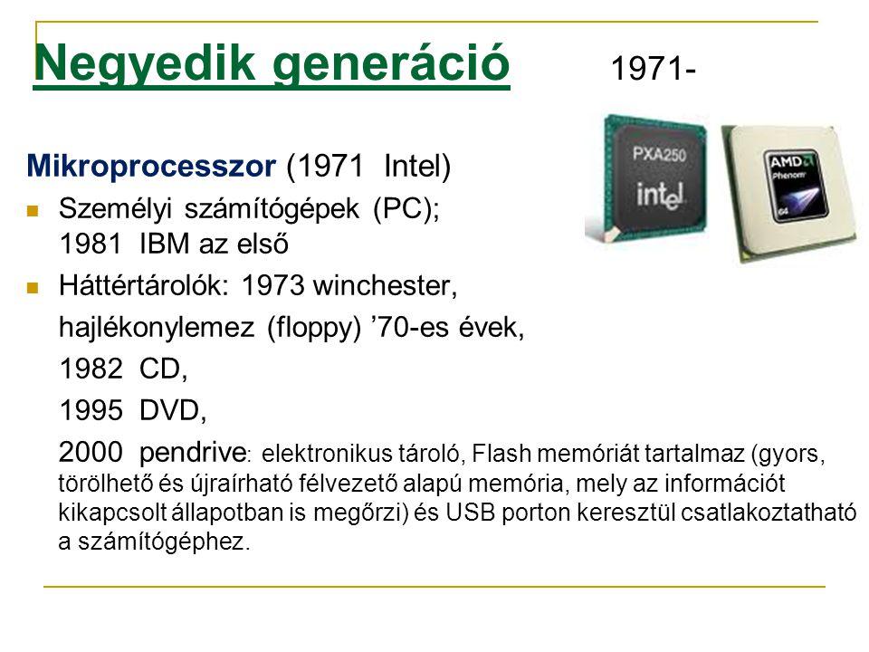 Negyedik generáció 1971- Mikroprocesszor (1971 Intel)