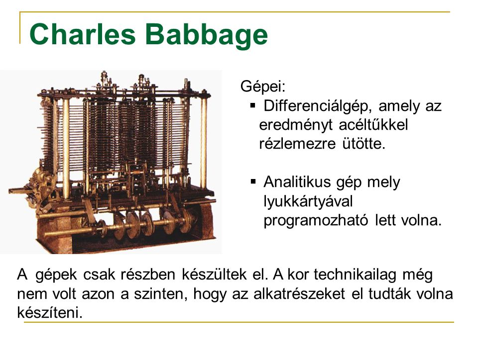 Charles Babbage Gépei: