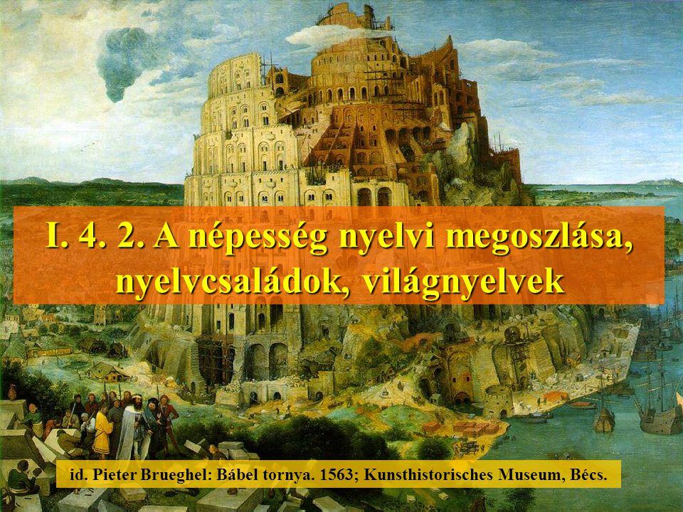 I. 4. 2. A népesség nyelvi megoszlása, nyelvcsaládok, világnyelvek