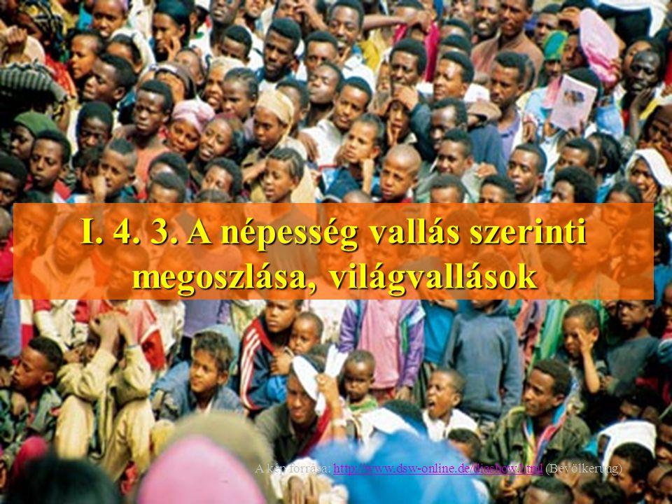 I. 4. 3. A népesség vallás szerinti megoszlása, világvallások